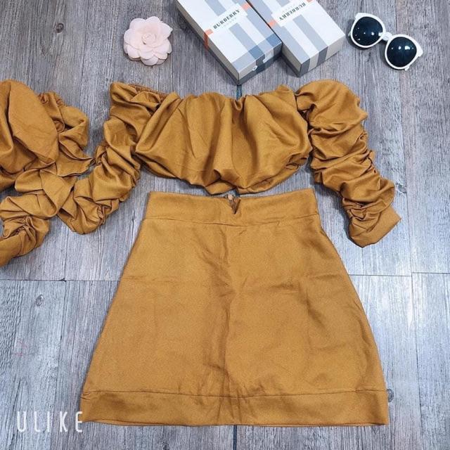 (ẢNH THẬT 100%)Sét áo nhún chân váy xinh