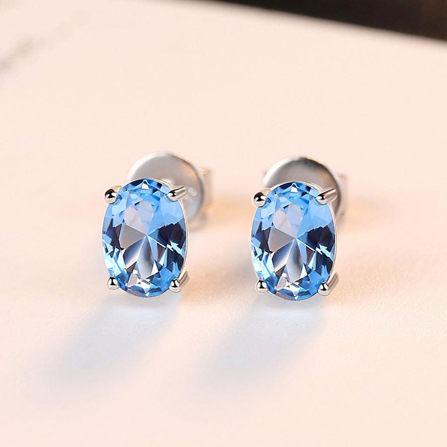 Bông tai bạc gắn đá xanh kĩ thuật tinh xảo B-1448