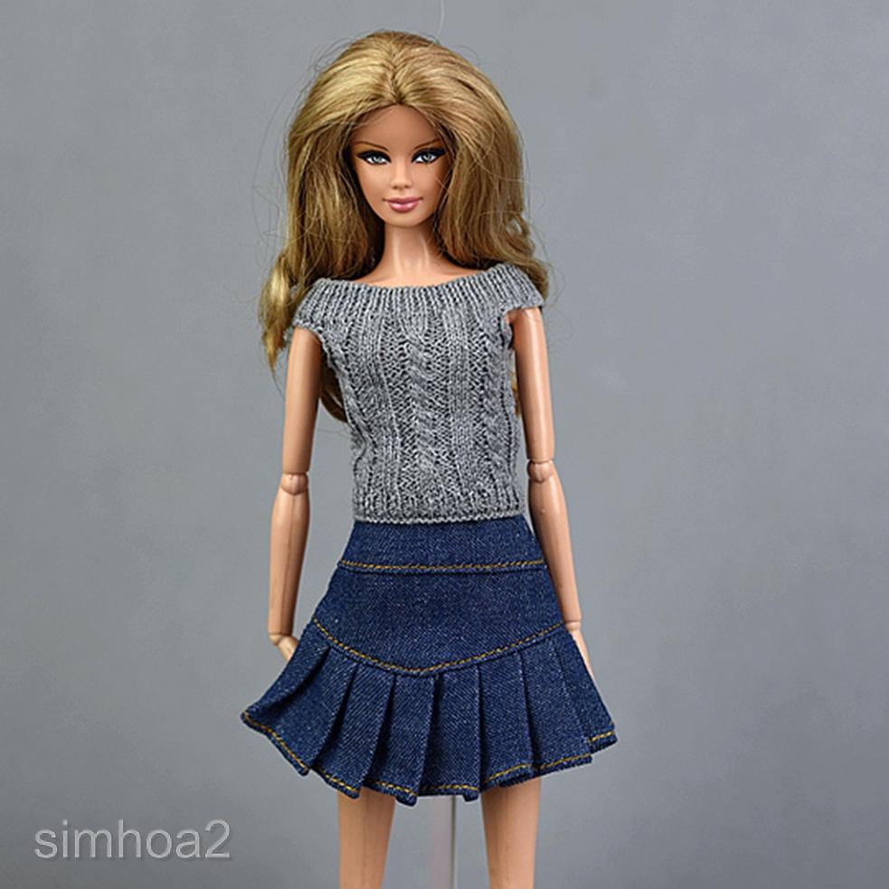 Set áo dệt kim và chân váy denim dành cho búp bê /6 Blythe Licca OB