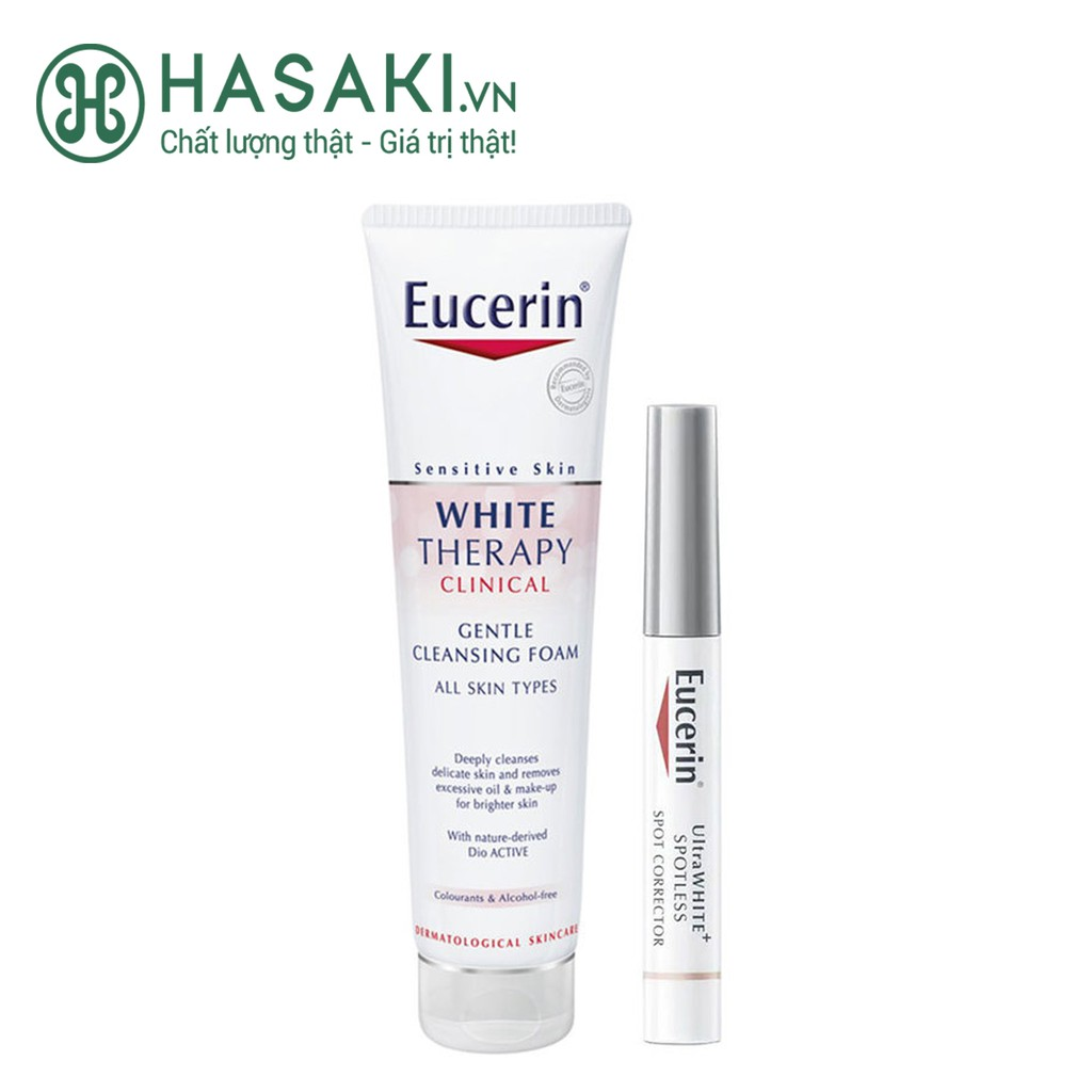 Combo Dưỡng Sáng Da, Giảm Thâm Nám Eucerin 2 Món Ultra White Spot Corrector + White Cleansing Foam
