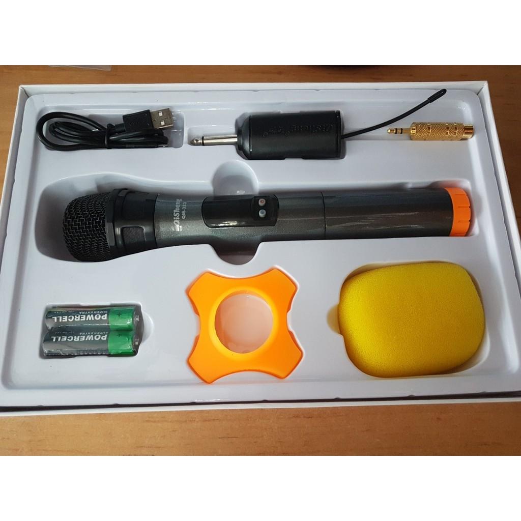 Micro Karaoke không dây QiSheng QM-323 (đen) Hỗ trợ thiết bị có jack cắm 3.5mm và 6.5mm