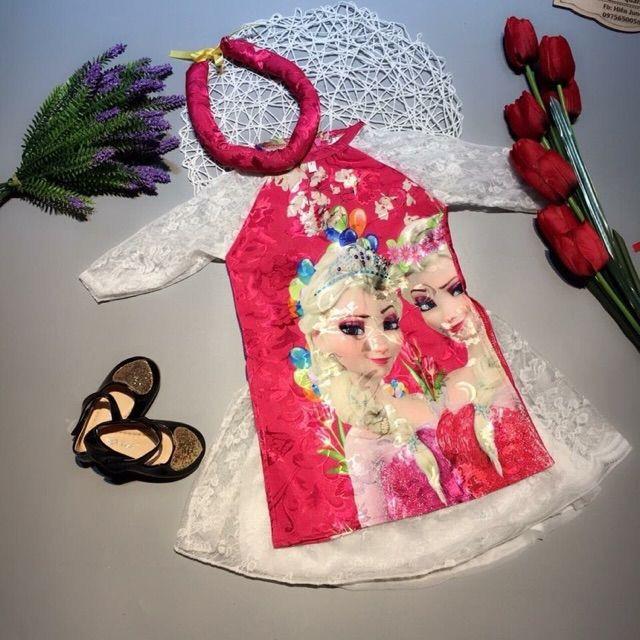 (BAO GIÁ TOÀN QUỐC) (Áo+váy+mấn) Áo dài cách tân công chúa tuyết elsa cho bé 24-35kg