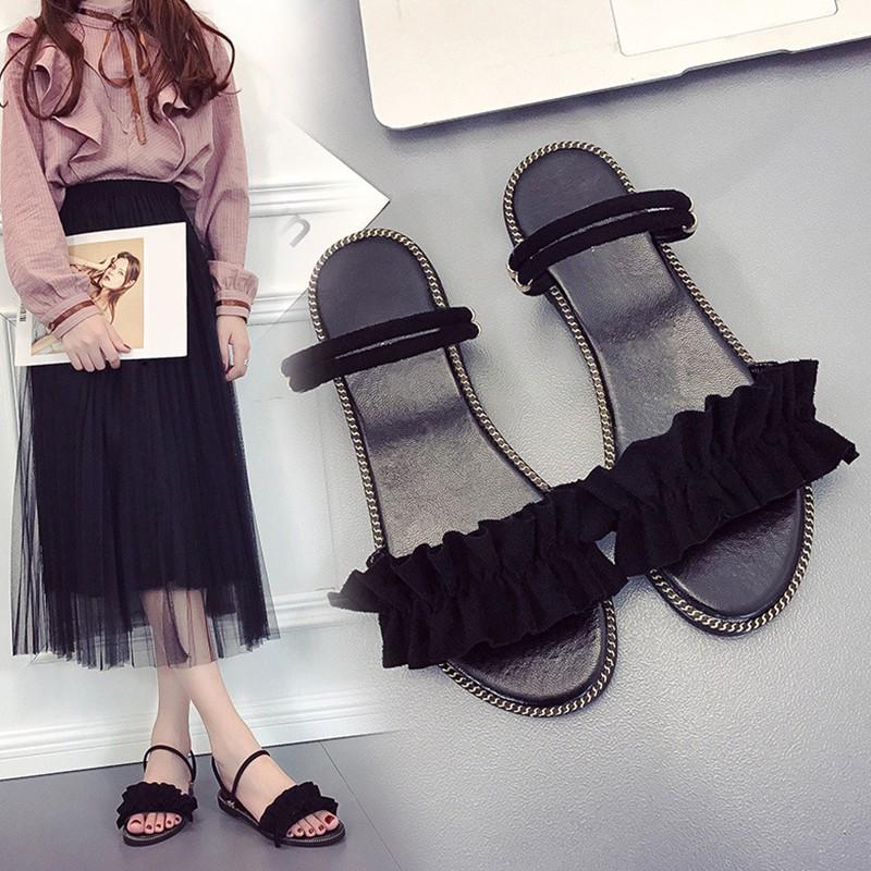 Giày sandal nữ hở ngón đế bệt mùa hè phong cách Roman