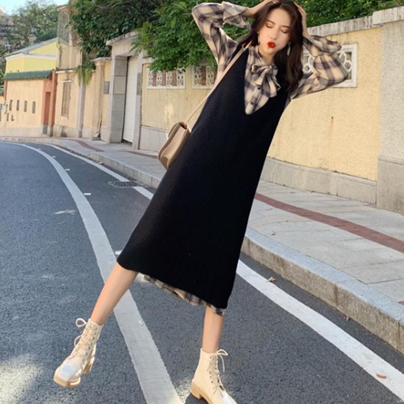 Bộ Áo Dài Tay + Chân Váy Xinh Xắn Dành Cho Nữ 2019