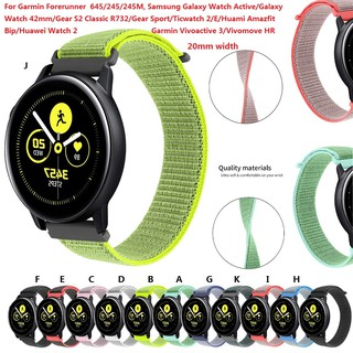Samsung Galaxy Watch Active/Galaxy 42mm/Garmin Forerunner 245/245M/Huami Amazfit Bip Watch Band Nylon Wrist Strap 20mm