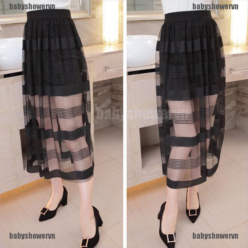 Chân váy tutu dài lưng thun co dãn kiểu dáng thời trang cho nữ