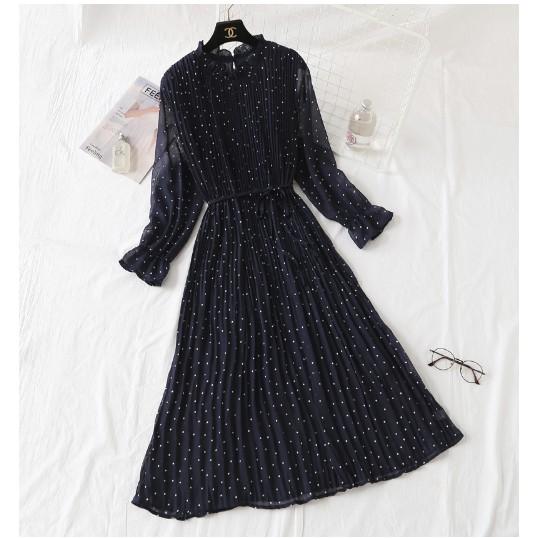 Váy đầm nữ chấm bi dài tay phong cách Pháp cổ điển