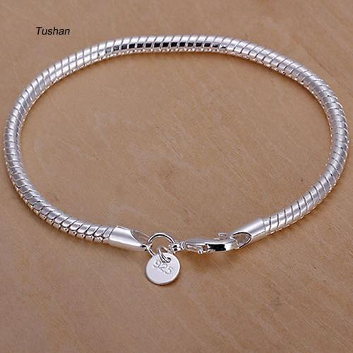 TUSH_Women's Fashion Silver Plated Thin Bangle Shining Concise Bracelet Jewelry Gift