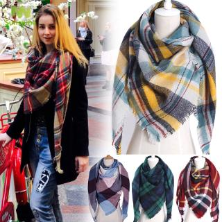 Women Scarf Long Shawl Wraps Plaid Pattern Warm for Fall Winter Beach Outdoor