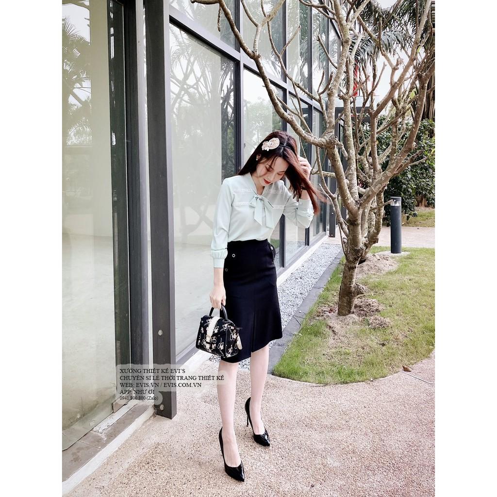 Sét bộ áo sơ mi tay dài thắt nơ cổ viền ren ngực phối chân váy công sở thanh lịch