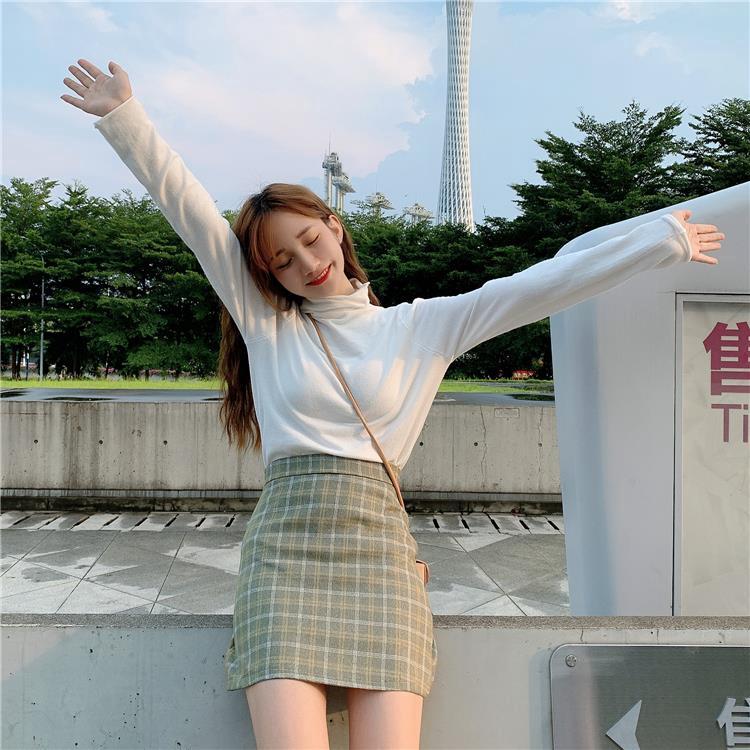 Chân Váy Chữ A Kẻ Sọc Caro Phong Cách Retro Hàn Quốc Cho Nữ