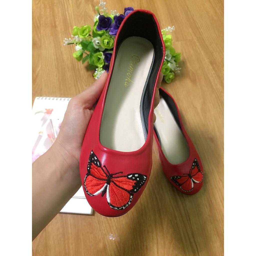 Giày búp bê thêu bệt bướm
