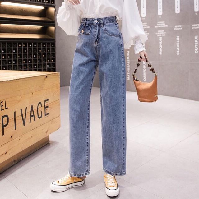 Quần jeans ống suông túi nắp có nút 1 bên