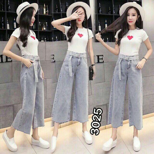 Quần jeans ôbgs rộng nữ