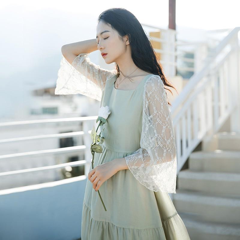 Chân Váy Chữ A Phối Ren Xinh Xắn Dành Cho Nữ