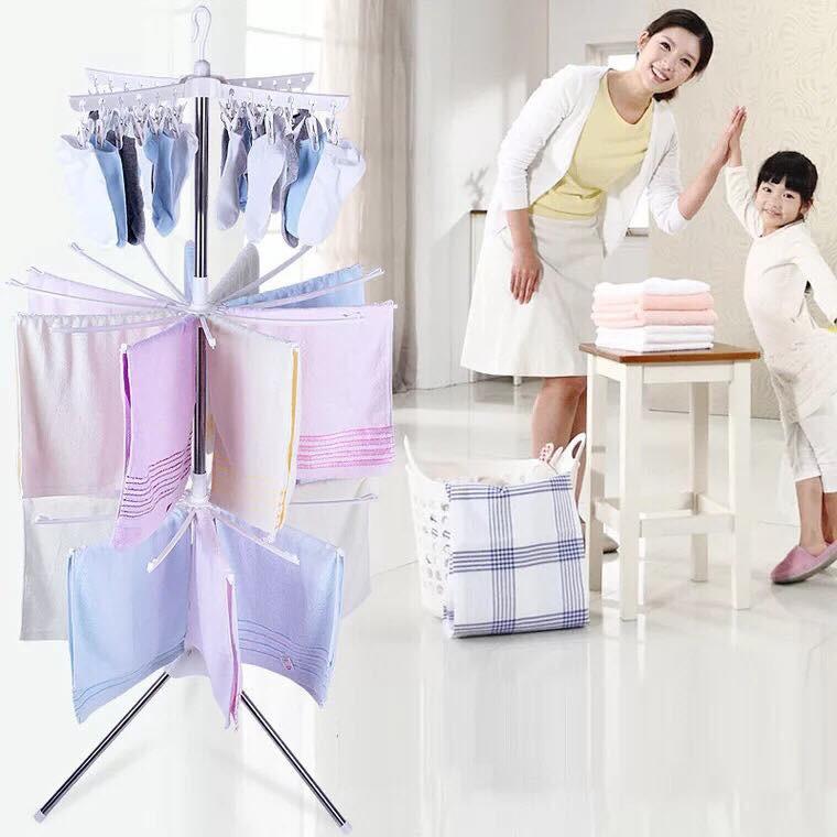 giá treo khăn và quần áo kiểu mới 3 tầng