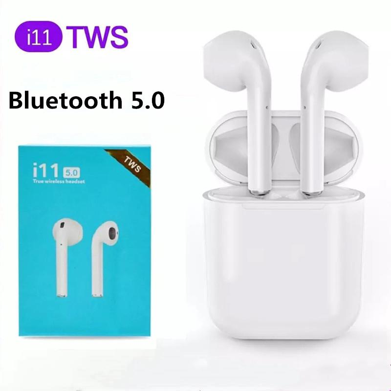 i11 TWS Wireless Double Earphones 5.0 Bluetooth Headphones Earbuds Headset white