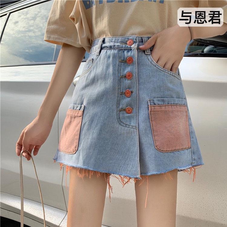 2743757077 - quần short jeans nữ lưng cao thời trang hàn
