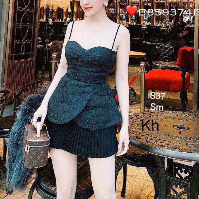 [ HOT SALE ] Set áo 2 dây váy dập li đẹp tuyệt