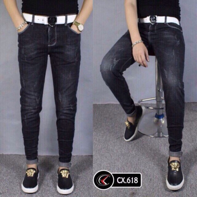 quần jean đen xước nhẹ