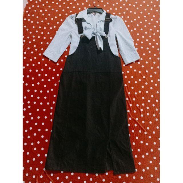 Đầm yếm đen kaki dáng dài siêu xinh hàng secondhand