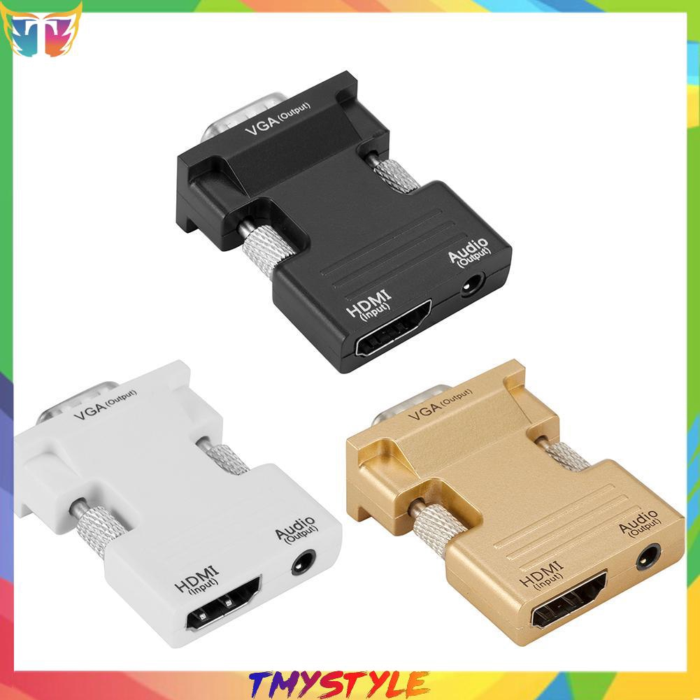 [tmystyle] H3E# HDMI Female to VGA Male Adapter w/Audio Cable Support 1080P Signal Output