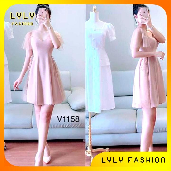 Váy đầm dáng xoè tay von cổ vuông tim GV1158 váy thiết kế kèm ảnh thật