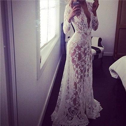 Đầm Maxi Trắng Hoạ Tiết Thêu Phối Ren Quyến Rũ đầm rộng đầm tay dài váy suông đầm chấm bi đầm boho đầm lolita váy lép
