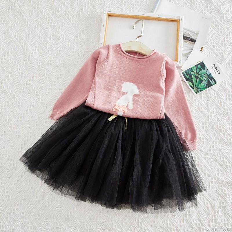 Set áo thun dài tay cổ tròn + chân váy lưới xòe đáng yêu cho bé gái