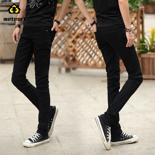 Quần jean ôm màu trơn cho nam