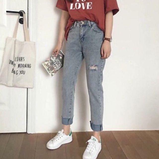 Quần Jeans Dạng Suông Rách 1 Bên Gối Thời Trang