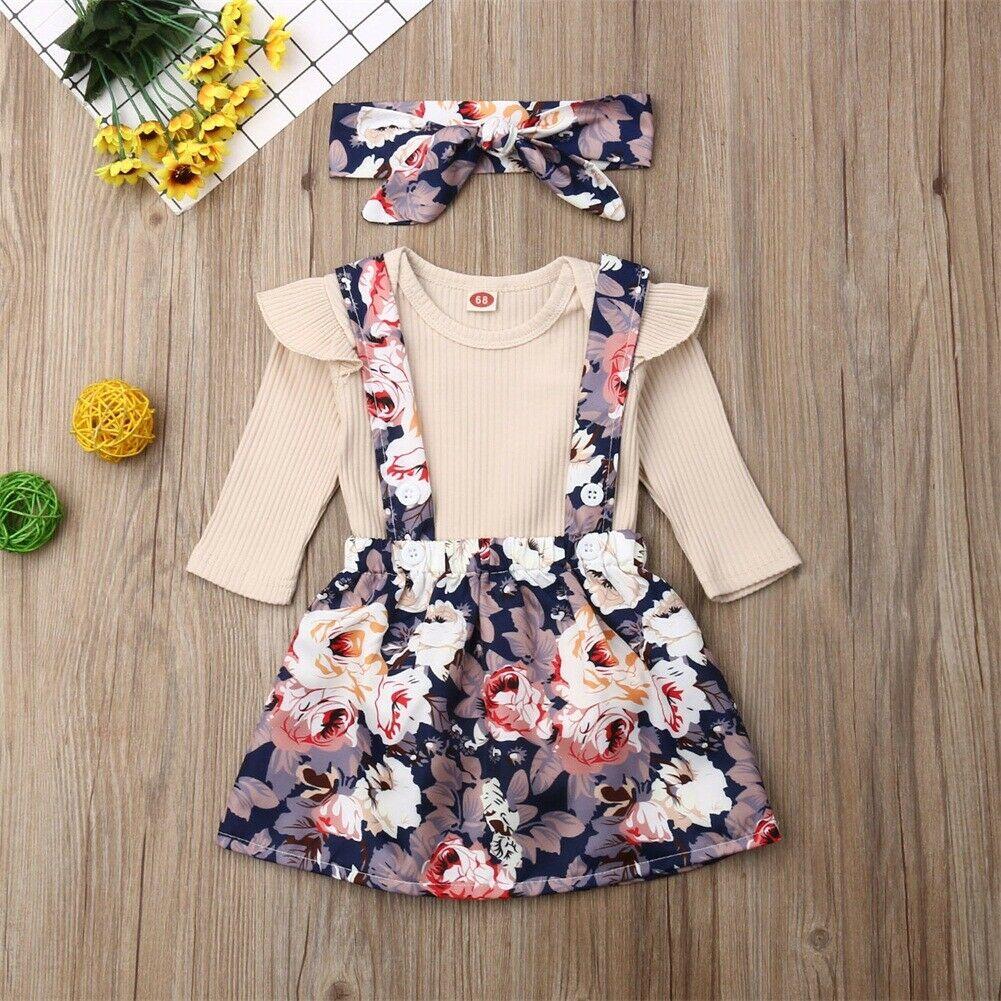 Set áo liền quần + Chân váy hoa xinh xắn cho bé gái