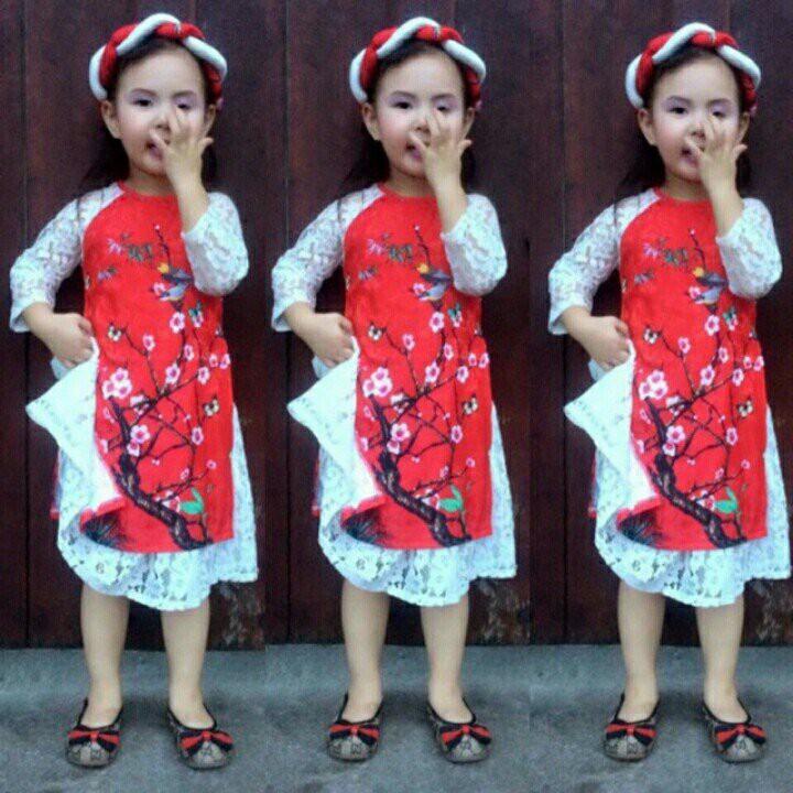 Áo dài cách tân bé gái 2019 (kèm mấn và váy)