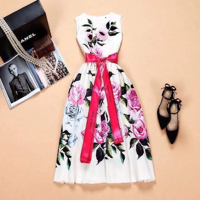 Váy hoa hồng kèm dây nơ queen cao cấp