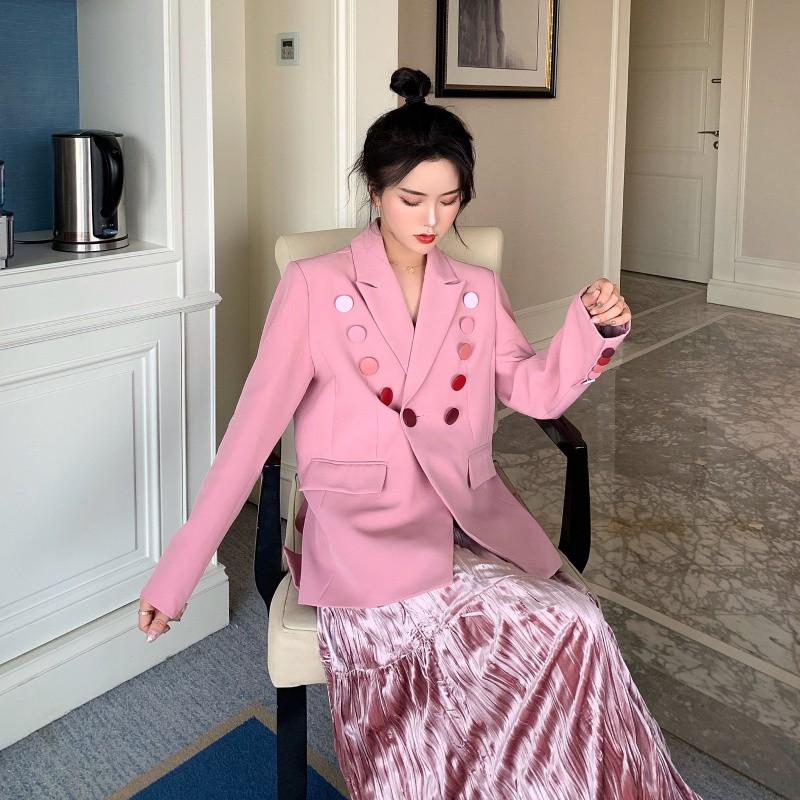 Bộ Áo Khoác Vest + Chân Váy In Hoa Kiểu Hàn Quốc Xinh Xắn Cho Nữ