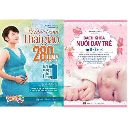 Combo (2 cuốn sách) Hành trình Thai giáo, 280 ngày, mỗi ngày đọc một trang +Bách khoa nuôi
