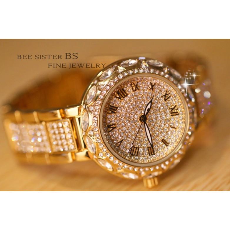 (TRỢ GIÁ KHỦNG) Đồng hồ nữ Bee Sister mầu vàng dây hợp kim khảm đá cực đẹp 34mm