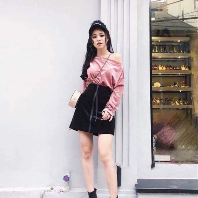 Sét chân váy phối khóa kéo áo bẹt vai tay dài nhung mịn màu hồng