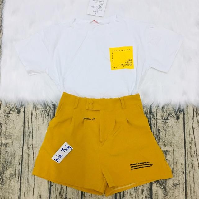 Set áo chân váy vàng