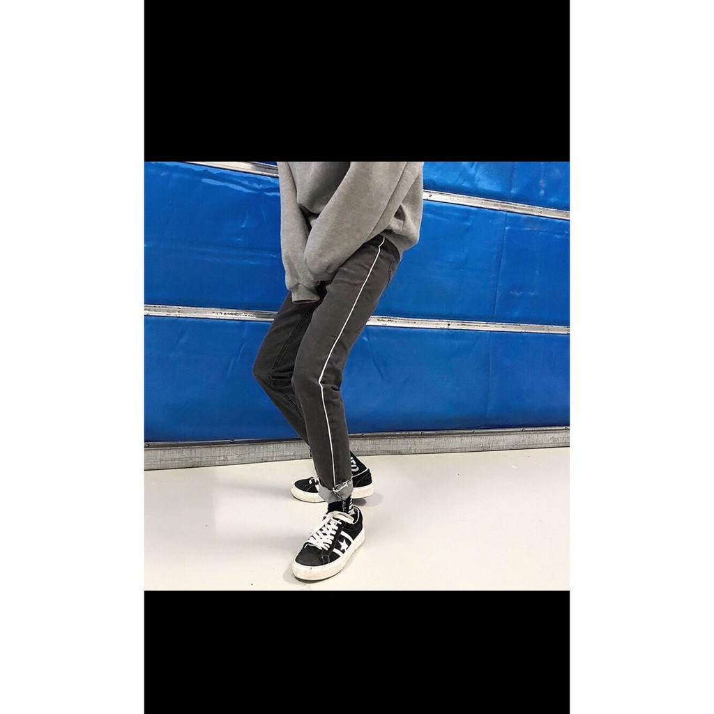 Quần jeans baggy xám đen sọc