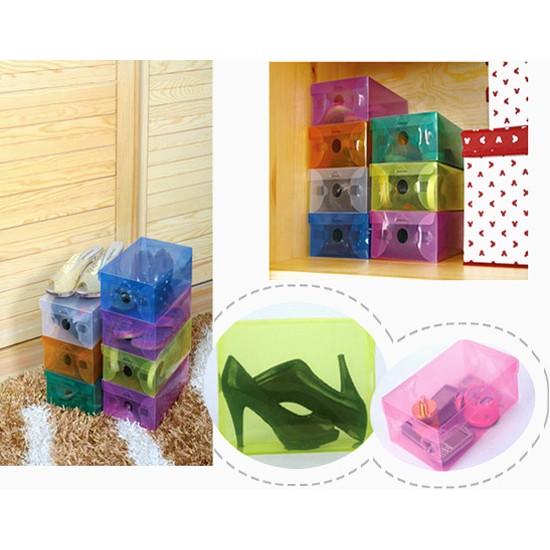 Combo 10 hộp đựng giày trong suốt nhiều màu