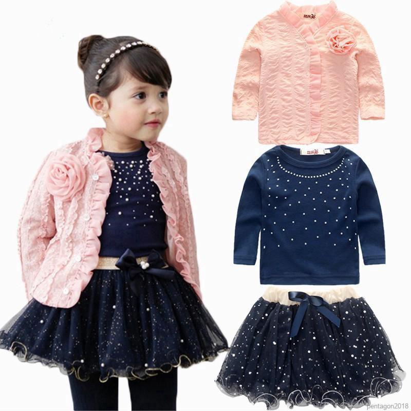 Bộ áo khoác + áo thun + chân váy xòe công chúa cho bé gái