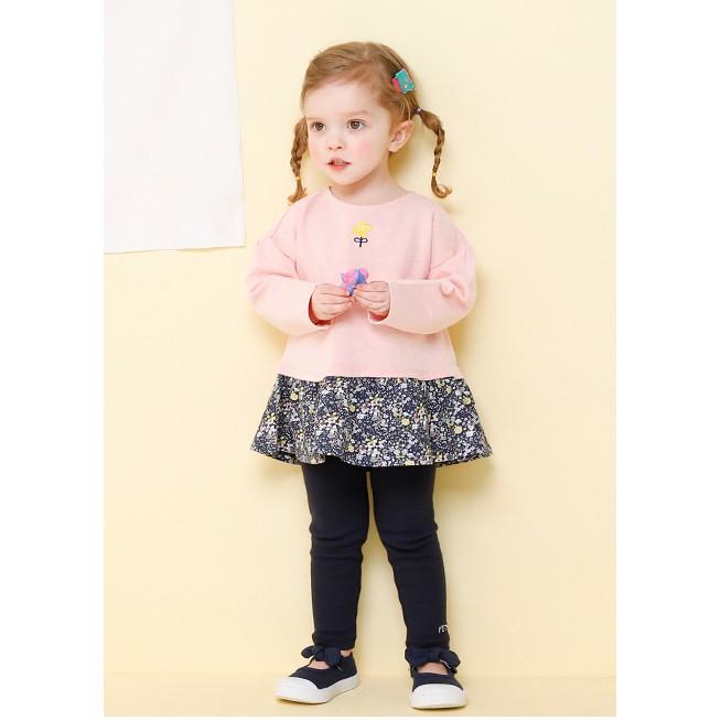 Bộ xuất Hàn Milkmile hồng chân váy hoa nhí MN5GSE04