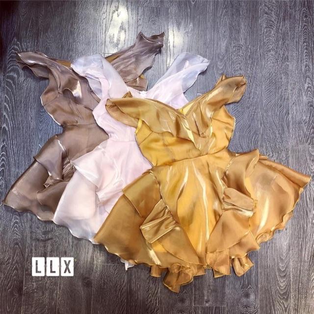 Váy satin đầm xoè