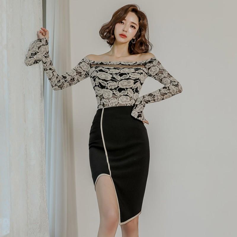 Set Áo Thun Tay Ngắn + Chân Váy Ôm Dáng Thời Trang Dành Cho Nữ
