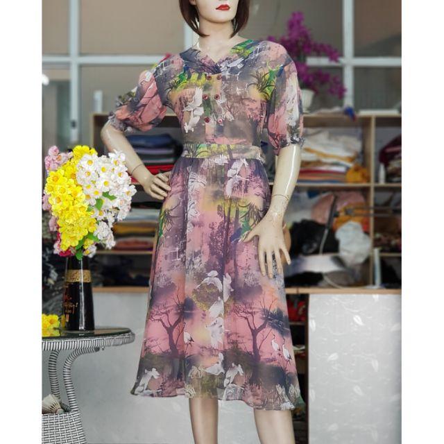 Váy xòe midi vải tơ họa tiết hoa dáng đầm liền dạo phố hoặc đi làm công sở V19 Thời Trang Thủy