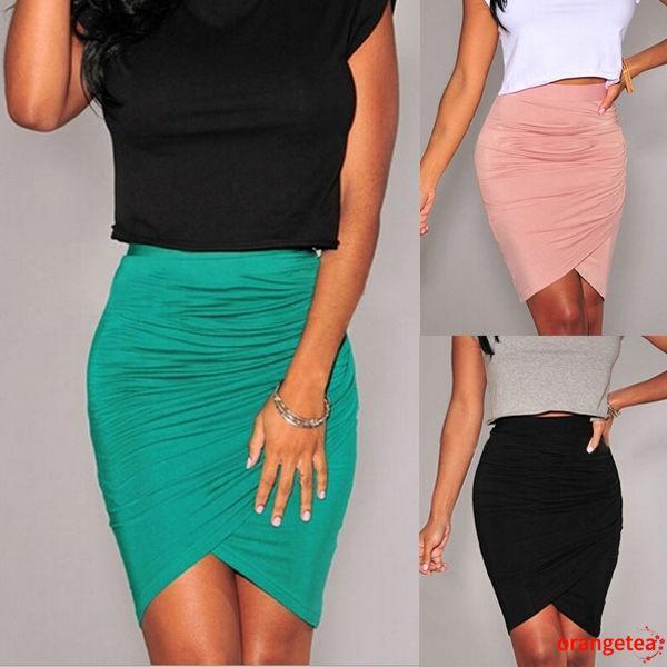 Chân váy bút chì lưng cao dáng ôm màu trơn thời trang cho nữ