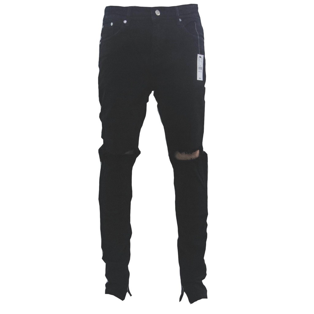 ⚡️[CHỈ 1 NGÀY] - Quần Zipper Jeans Đen Rách Gối, quần jeans nam rách gối zipper