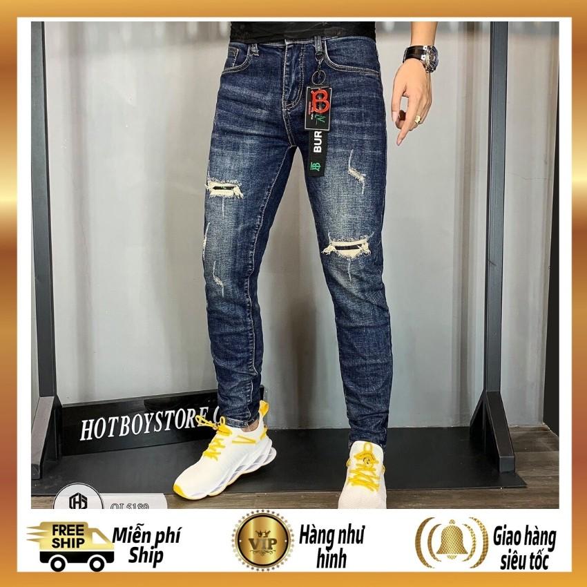 Quần jean nam chất bò cao cấp-ms 5189-màu xanh nhạt rách xước-quần bò phong cách hàn quốc
