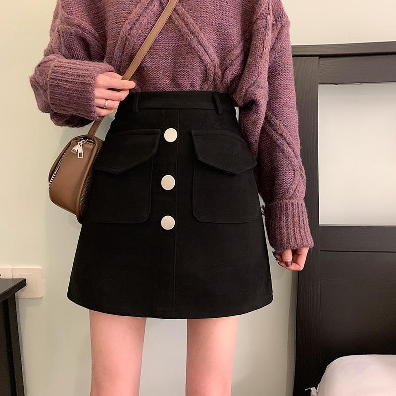 Chân Váy Len Lưng Cao Thời Trang Hàn Quốc Cho Nữ